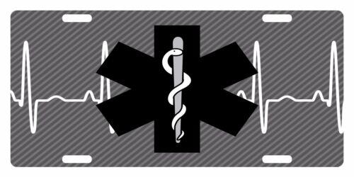 PARAMEDIC License Plate STAR OF LIFE Version Heart Monitor