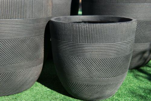 Outdoor Garden Patio Entrance Planter Round Winston Egg Pot Pattern Java Black