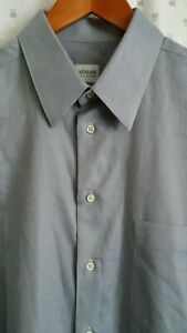 Armani-Collezioni-Mens-Dress-Shirt-Blue-Stripes-Long-Sleeve-Size-17-5-44-L