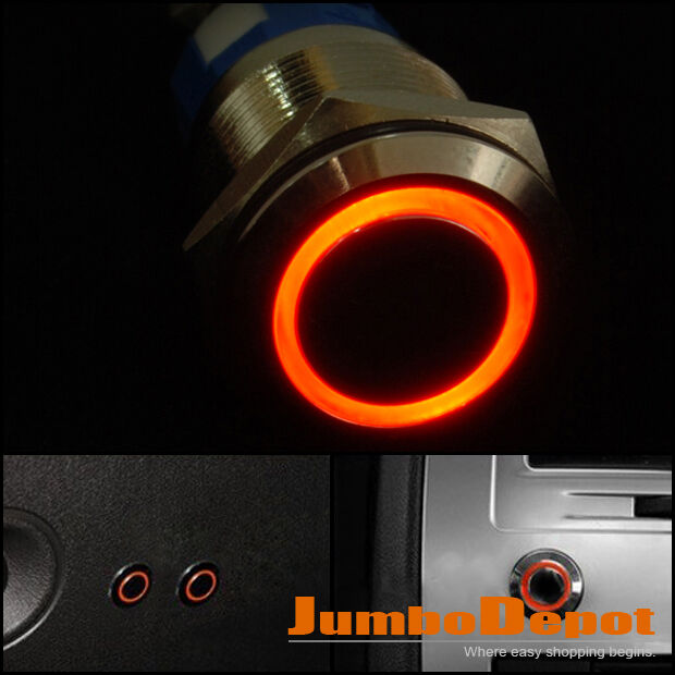Red LED Ultra Flush Light SPDT On Off Push Switch Ring Button 19mm Mounting