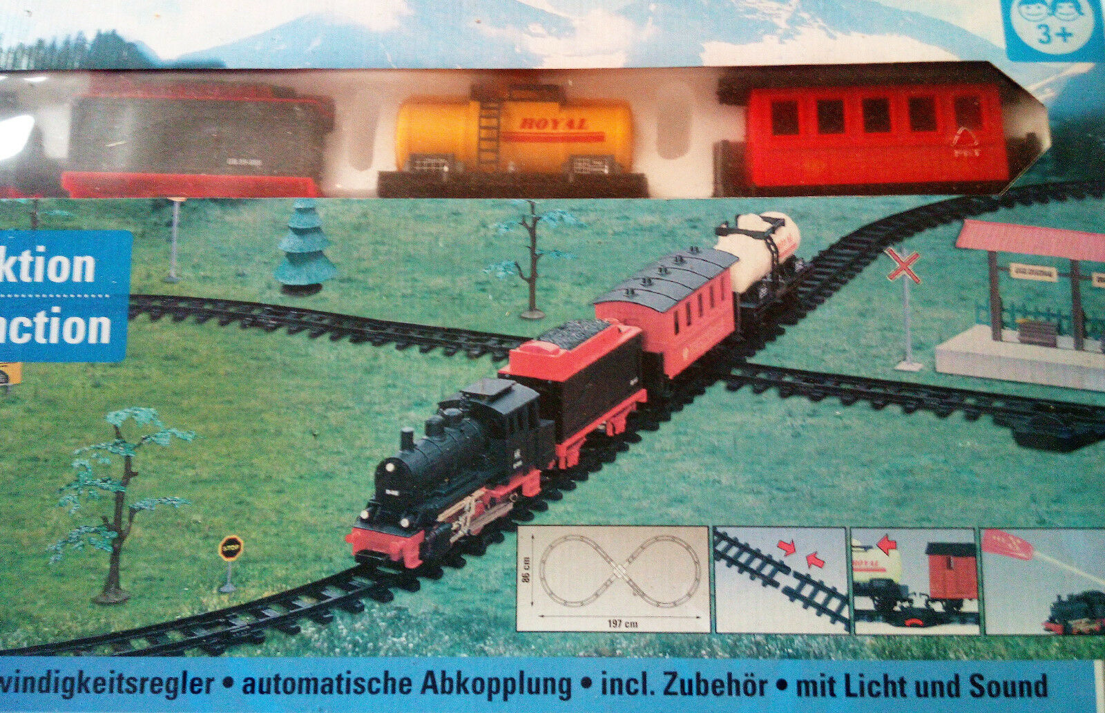 Großes Eisenbahnset mit Funkbedienung ,Licht,Geräusche ,ca 197 x 86 cm ,NEU,OVP  | Offizielle