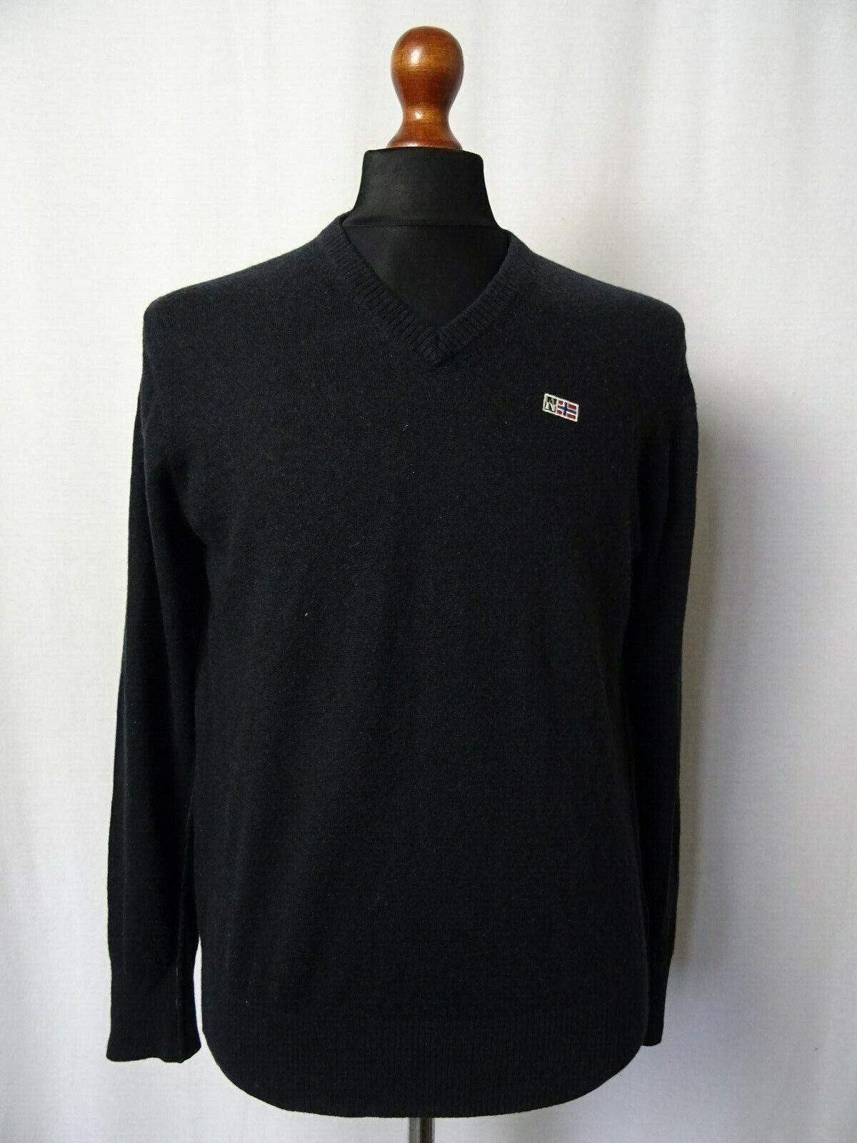Men's NAPAPIJRI Geographic Wool Polo Jumper Sweater M 42R