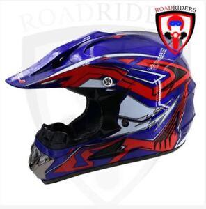 Roadriders' Blue HNJ Off Road Motocross Helmet