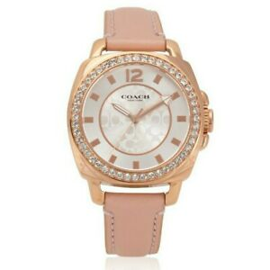 Coach-Women-039-s-Watch-Pink-Leather-Rose-Gold