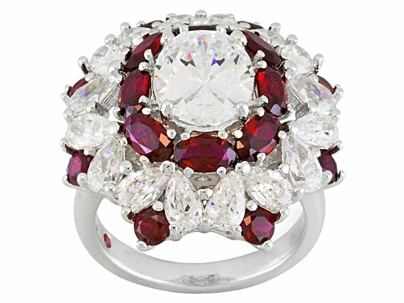 Lab Created Ruby And Cubic Zirconia Platineve Ring 13.73ctw    149.95   Size 6
