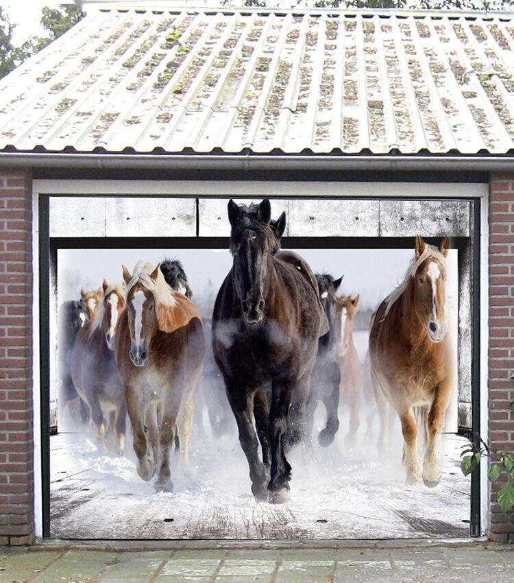 3D Running Horses Garage Door Murals Wall Print Decal Wall Deco AJ WALLPAPER IE