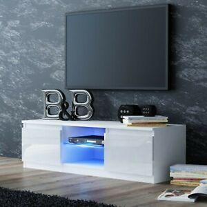 TV-Schrank-Lowboard-Fernseher-Hochglanz-Schrank-Moebel-LED-120cm-weiss