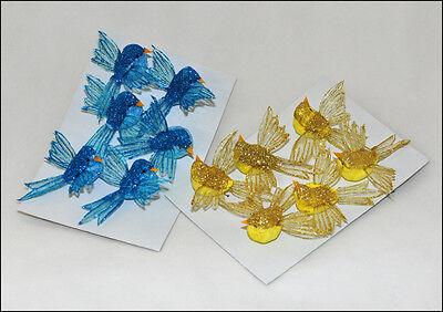 6 Uccellini Glitter 9 Cm Natale Allestimenti Decori Composizioni Natalizie