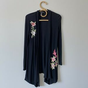 XS-Womans-INC-INTERNATIONAL-CONCEPTS-Embroidered-Black-Ribbed-Cardigan-Top