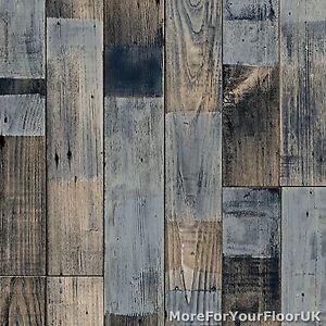 Grey Blue Reclaimed Wood Plank Vinyl