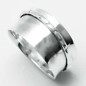Solid-925-Sterling-Silver-Wide-Band-Handmade-Spinner-Ring-Jewelry-Size-7-B-0126