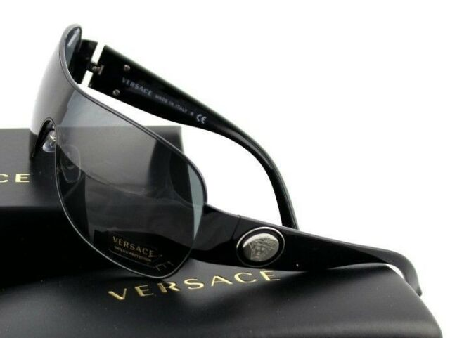 64b8f07978b93 RARE New VERSACE Rock Icons Shield Wrap Black Medusa Sunglasses VE 2101  1009 87