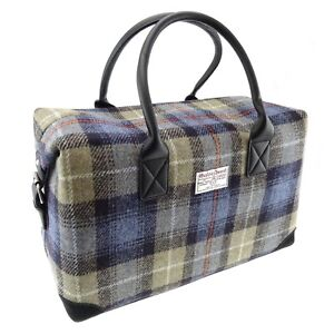 d9b7b10a3 Image is loading Authentic-Harris-Tweed-Overnight-Bag-Holdall-Blue-Check-