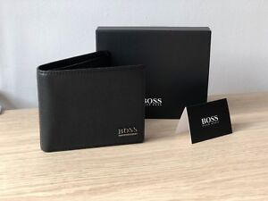 Hugo-BOSS-Men-039-s-Black-Leather-Wallet-039-Monist-039-Bi-fold-Style-50261706