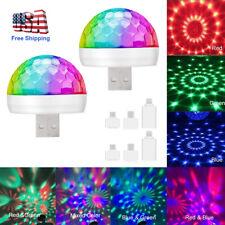 2x Mini USB RGB LED Stage Lamp Remote Controls Disco Ball Lights Home Car Party