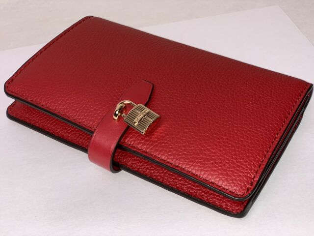 88eeda67a5a7 NWT MICHAEL KORS PEBBLED LEATHER LEATHER ADELE SLIM BIFOLD WALLET IN SCARLET