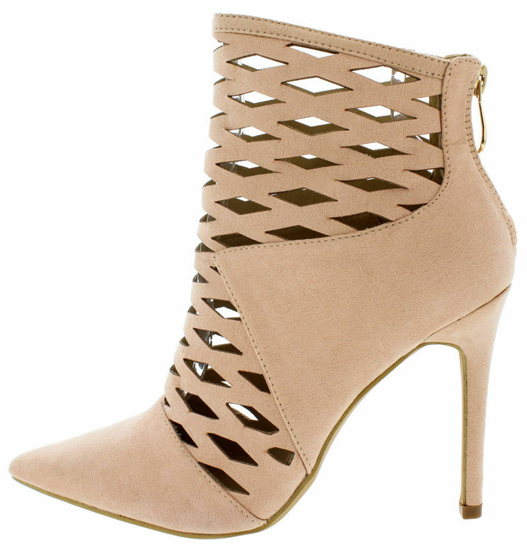 Nude *Celebrity Style* Lasercut Caged Ankle Bootie Heels, US 8