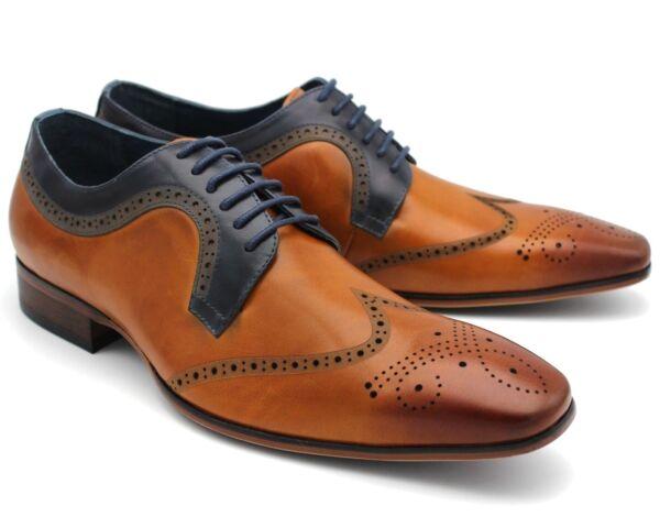 * 977 Uk 11 Nuevo Zapatos Para Hombre Marrón Tostado De Cuero Real Con Cordones Inteligente Trabajo Informal Eu 45-ver