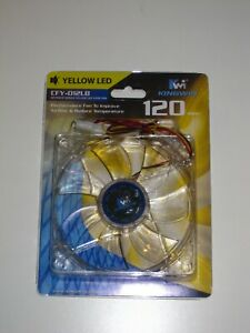 KINGWIN CFY-012LB Yellow LED 120mm Desktop Computer Cooling Case Fan, NEW NIP