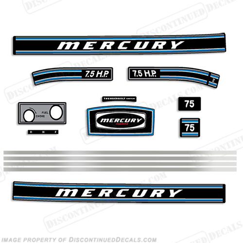 discontinued Autocollant Mercury 1973 7.5hp Hors-Bord Décalque Kit