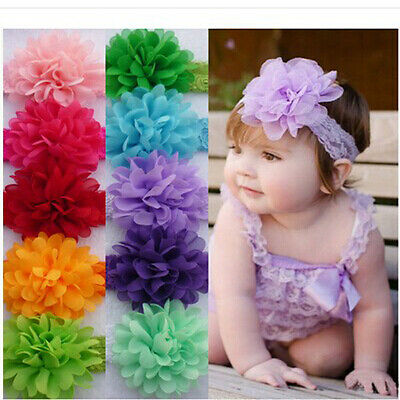 12pcs Kids Girl Baby Toddler Lace Flower Headband Hair Band Accessories Headwear