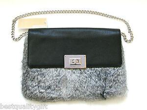 Image Is Loading Michael Kors Sloan Silver Genuine Rabbit Fur Black