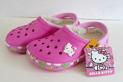 crocs HELLO KITTY Mammoth Clog 12 13 Sanrio Magenta Pink Crocband Fleece Lined