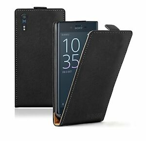 SLIM-BLACK-Leather-Flip-Case-Cover-For-Mobile-Phone-Sony-Xperia-XZ