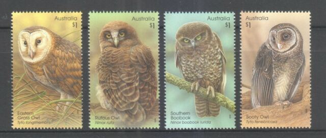 AUSTRALIA 2016 OWLS GUARDIANS OF THE NIGHT COMP. SET OF 4 STAMPS IN MINT MNH