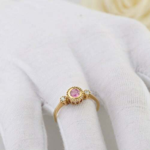 2Ct Round Cut Pink Sapphire Solitaire Women/'s Engagement Ring 14K Rose Gold Over
