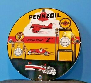 VINTAGE-PENNZOIL-GASOLINE-PORCELAIN-GAS-OIL-LUBE-SERVICE-STATION-PUMP-PLATE-SIGN