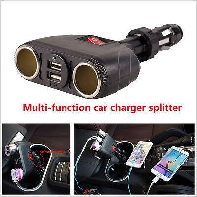 Adjustable 2 Way Car Cigarette Lighter Socket Splitter 12V 2 USB Charger Adapter