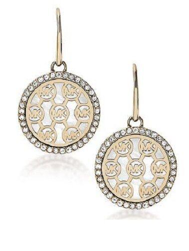 9ec47793ee22 Michael Kors Crystal-framed Monogram MK Logo Disc Drop Earrings Mkj5367 for  sale online