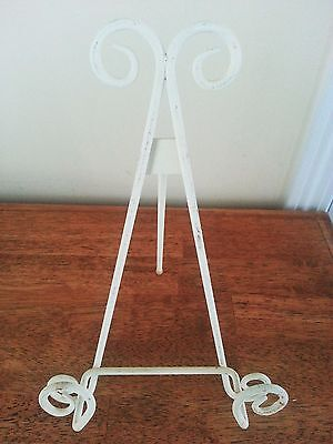 DECORATIVE Cream Shabby Chic Tabletop Easel Display Stand Metal