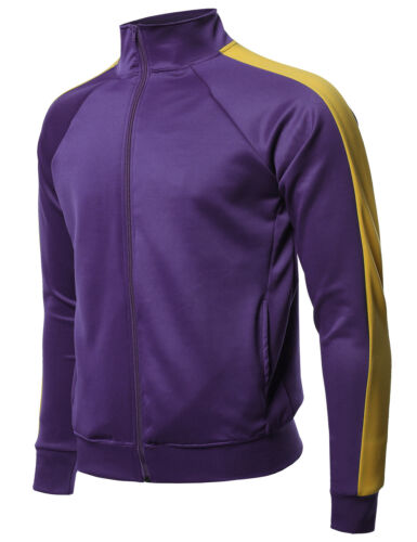 FashionOutfit Men/'s Premium Quality Shoulder Panel Zip-Up High Neck Track Jacket