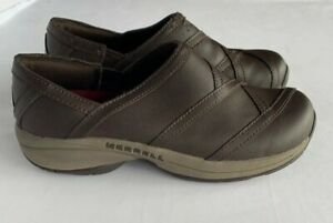 Merrell-Womens-Size-7-5-Primo-Patch-Slip-On-Walking-Shoes-Clogs-Brown-Leather