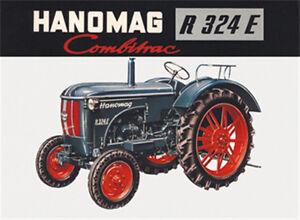 HANOMAG R 324E Traktor Blechschild 8x11 cm Blechkarte Sign PC-201/540 Blechschilder Werbung Moderne Blechschilder (ab 1960)