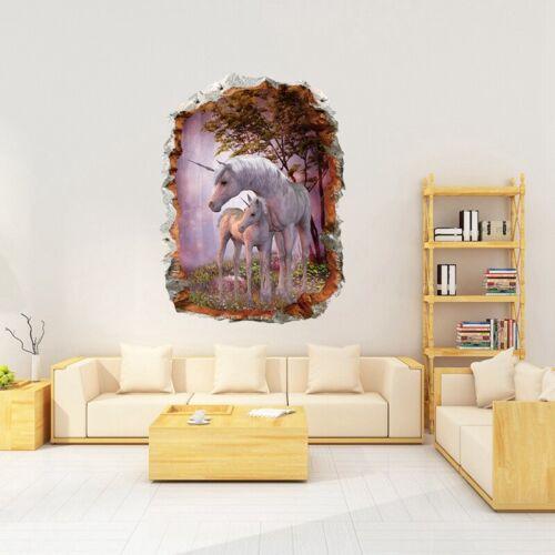 Magical 3D Unicorn Vinyl Wall Stickers Kids Living Room Decals Decor Mbyss