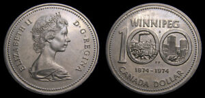Canada-1974-Winnipeg-Dollar-Double-Yoke-Variety-2-DY-V2-Very-Rare-AU