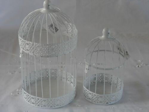 Vintage White Round Metal Bird Cage Tea Light Candle Holder Wedding Centre Piece