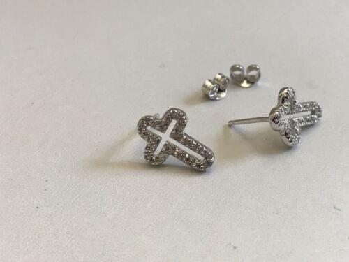 OPEN CROSS STUD  EARRINGS W// LAB DIAMONDS 925 STERLING SILVER