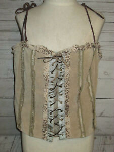 Ladies-Wilsons-Leather-Maxima-Beige-Suede-Laced-Corset-Top-Size-XXL-NWT