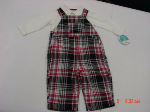 NWT InFant Boys 2 pc Outfit Shirt Overalls Red Black Plaid New Unused