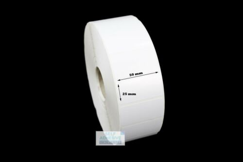 Ideal for outdoor use 2k Roll. 50mm x 25mm Gloss white Polypropylene labels