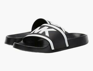 Women-MK-Michael-Kors-cate-Slide-Sandals-PVC-Black-Optic-White