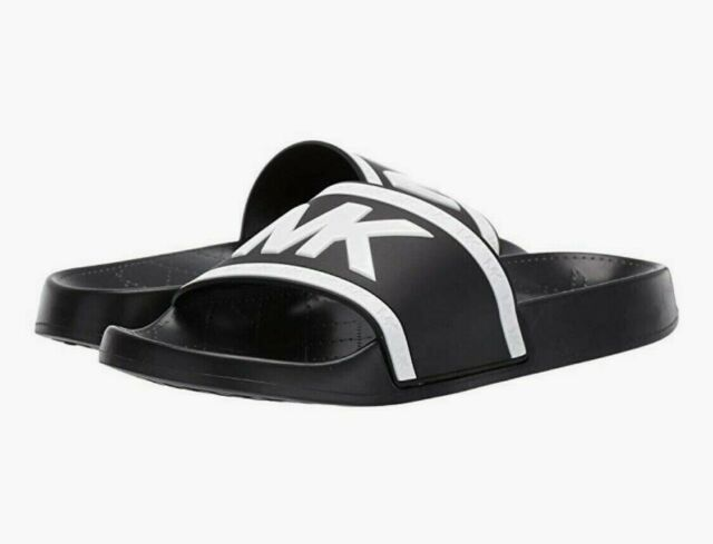 Women MK Michael Kors cate Slide Sandals PVC Black/Optic White