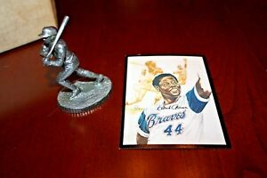 Vintage-Hank-Aaron-Pewter-Statue-with-Baseball-Card-and-Box-very-rare-HOF-1970s