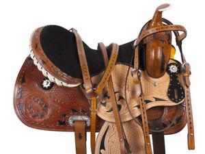 14-15-16-BLACK-HAND-PAINTED-INLAY-BARREL-RACING-WESTERN-HORSE-SADDLE-TACK-SET