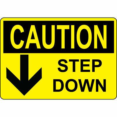 Aluminum Horizontal Metal Sign Multiple Sizes ANSI Caution Step up Arrow