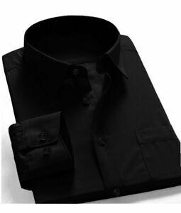 New-Mens-Regular-Fit-Long-Sleeve-Solid-Color-One-Pocket-Oxford-Dress-Shirt-Black